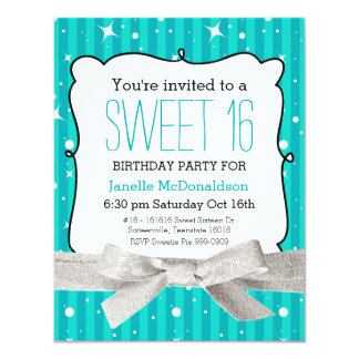 Twinkle Stripes Sweet 16 Birthday Party Blue 4.25x5.5 Paper Invitation Card