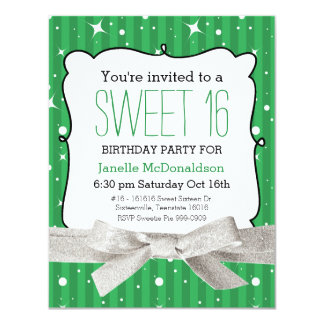 Twinkle Stripes Sweet 16 Birthday Party Green 4.25x5.5 Paper Invitation Card