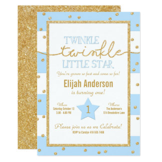 Twinkle Twinkle Blue and Gold Birthday Invitation