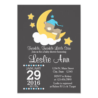 Twinkle Twinkle Boy Bear Baby Shower Invitation