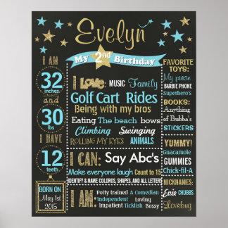 Twinkle Twinkle Little Star Birthday chalkboard Poster