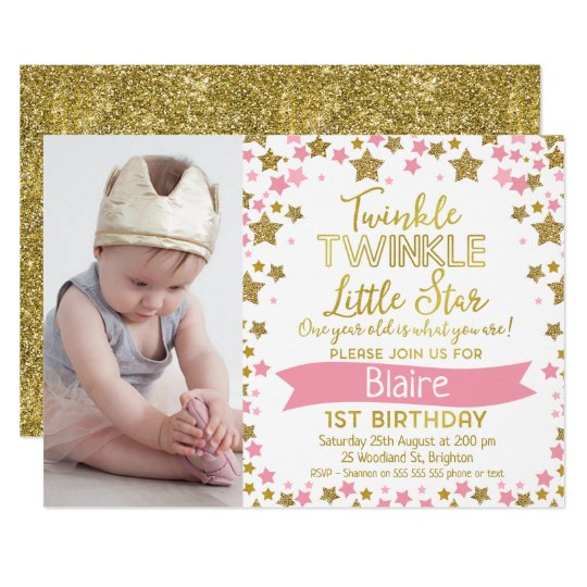 Twinkle Twinkle Little Star Birthday Invitation