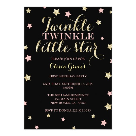 Twinkle Twinkle Little Star Birthday Invitations
