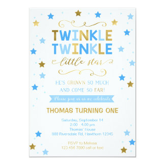 Twinkle Twinkle Little Star Birthday Invite, Boy Card