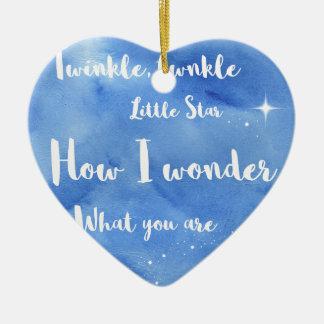 Twinkle Twinkle Little Star Ceramic Heart Decoration