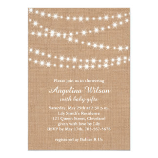 """Twinkle Twinkle Little Star Invitation on Burlap 5"""" X 7"""" Invitation Card"""