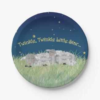 Twinkle Twinkle Little Star Sleeping Sheep 7 Inch Paper Plate