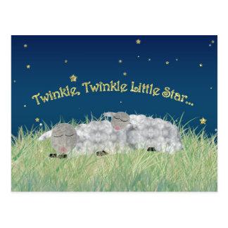 Twinkle Twinkle Little Star Sleeping Sheep Postcard