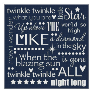 Twinkle Twinkle Little Star Word Art Midnight Blue Poster