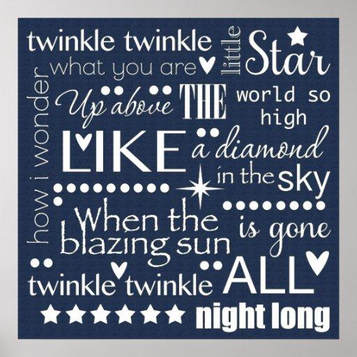 Twinkle Twinkle Little Star Word Art Midnight Blue Posters