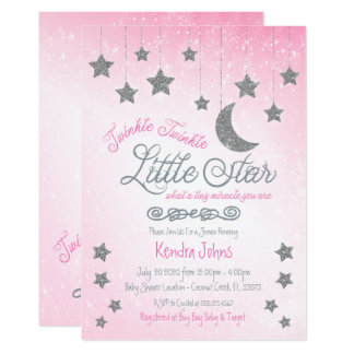 Twinkle Twinkle, Pink Baby Shower invitation