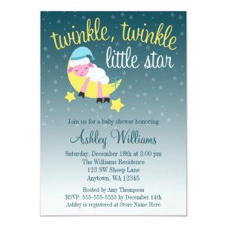 Twinkle Twinkle Star Lamb Baby Shower 13 Cm X 18 Cm Invitation Card