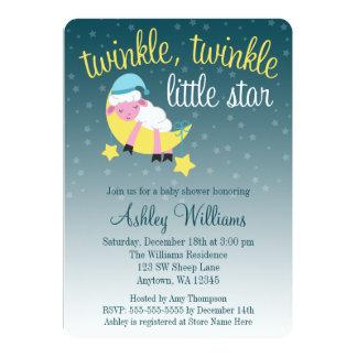 Twinkle Twinkle Star Lamb Die Cut Baby Shower 13 Cm X 18 Cm Invitation Card
