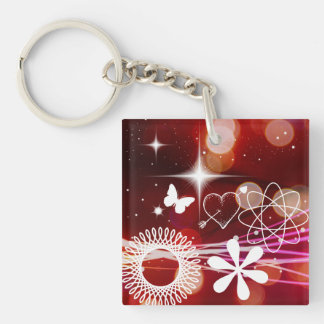 Twinkle Twinkle Stars Heart Butterfly Spirals Double-Sided Square Acrylic Key Ring