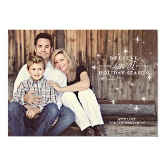 Twinkle White Stars Holiday Photo Card 13 Cm X 18 Cm Invitation Card