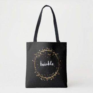 """""""Twinkle"""" with Golden Stars Circle  Tote Bag"""