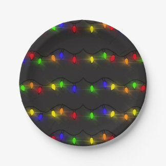 Twinkling Christmas Lights Paper Plate