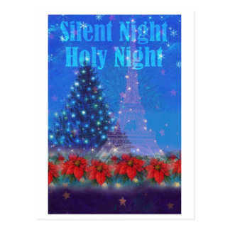twinkling eiffel tower nocturne christmas postcard