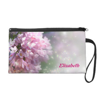 Twinkling Pink Lilacs Personalized Wristlet Bag