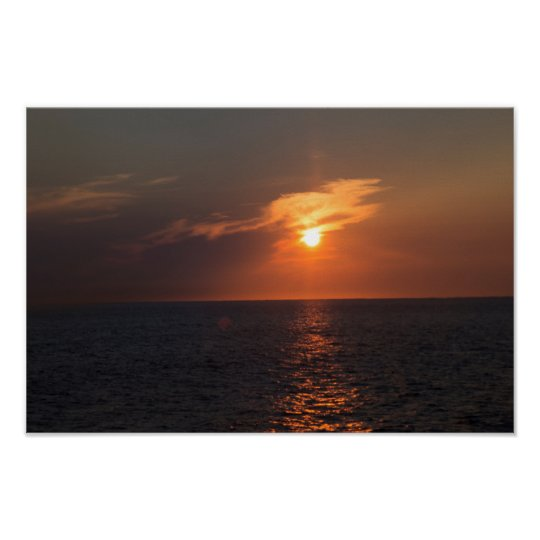 Twinkling Sunset Over Ocean Poster