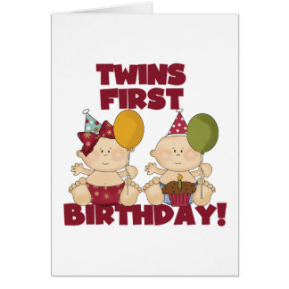 Twins 1st Birthday Boy/Girl T-shirts and Gifts Card