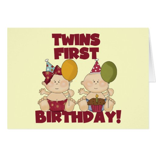 Twins 1st Birthday Boy/Girl T-shirts and Gifts Greeting Cards