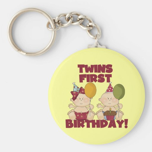 Twins 1st Birthday Boy/Girl T-shirts and Gifts Keychain