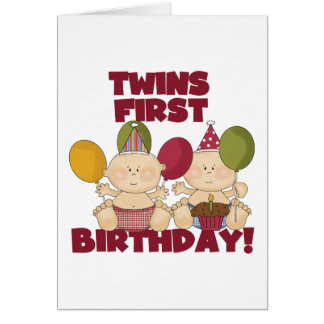 Twins 1st Birthday - Boys T-shirts and Gifts Greeting Card
