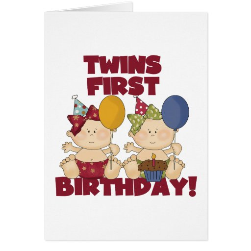 Twins 1st Birthday - Girls Tshirts and Gifts Cards