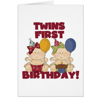Twins 1st Birthday - Girls Tshirts and Gifts Greeting Card