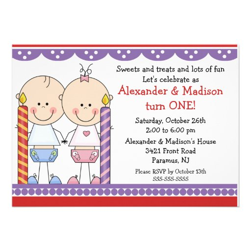 Twins 1st Birthday Invitation