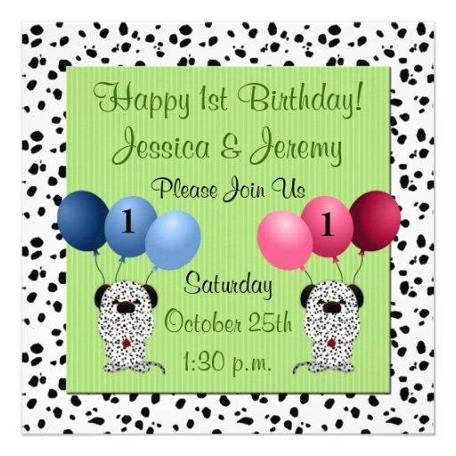 Twins 1st Birthday Party Invitation Green