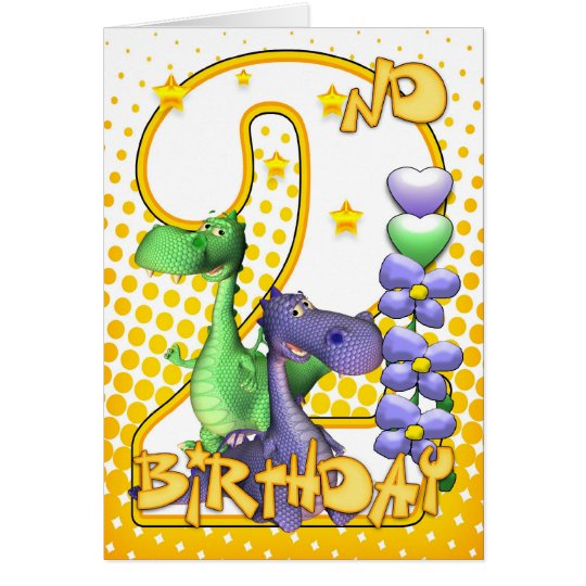 Twins 2nd Birthday Card - Cute Little Dragons