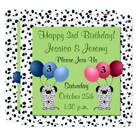 Twins 3rd Birthday Party Green With Dalmatians Invitation