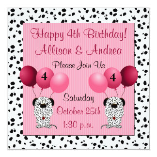 Twins 4th Birthday Party Invitation Pink