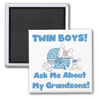Twins-Ask About My Grandsons Tshirts and Gifts Square Magnet