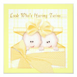 "TWINS BABY SHOWER  INVITATION YELLOW 5.25"" SQUARE INVITATION CARD"
