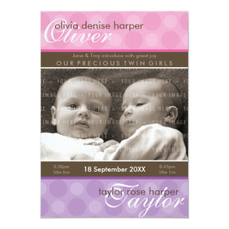 TWINS BABY THANK YOU :: harmony 4P 13 Cm X 18 Cm Invitation Card