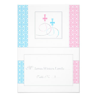 Twins Baptism Table Place Card You Fold Personalised Invites