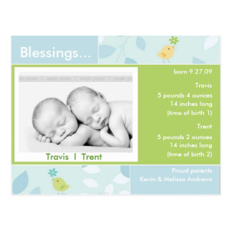 Twins Birth Announcement photo card Postcards