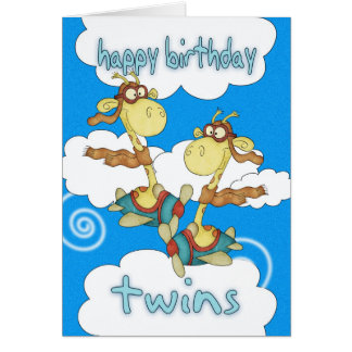 Twins Birthday Card - Aeroplane / Airplane Giraffe