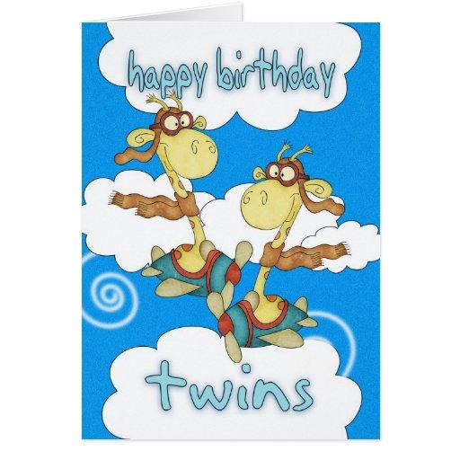 Twins Birthday Card - Aeroplane / Airplane Giraffe