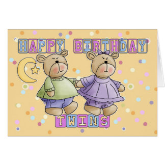 Twins Birthday Card - Teddy Bears