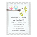 Twins Birthday Party Invitation Owls