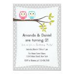 Twins Birthday Party Invitation Owls 13 Cm X 18 Cm Invitation Card