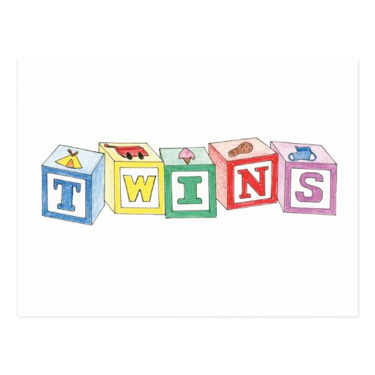 Twins Blocks Graphic Postcard
