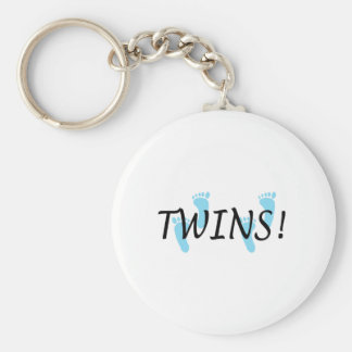 Twins (Blue Footprints) Basic Round Button Key Ring