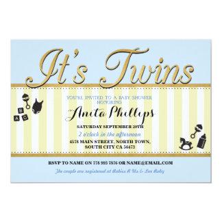 Twins Blue Gold Boy Lemon Baby Shower Invite