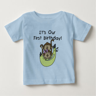 Twins - Boy and Girl Monkey 1st Birthday Baby T-Shirt