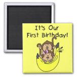 Twins - Boy and Girl Monkey 1st Birthday Fridge Magnet